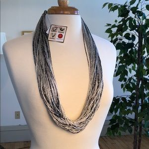 Jewelry - Handmade Metallic Shimmer Fabric Necklace NWT